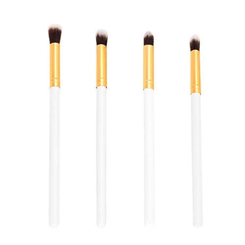 Lurrose 4pcs pinceaux de maquillage pinceaux fard à paupières nez pinceaux pinceaux de mélange pour dame (blanc et or)