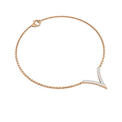 0.16 CT Pave Diamond Bracelet, Women V Shaped Diamond Bracelet, Gold Chain Adjustable Bracelet, Mother Birthday Anniversary Bracelets, Charm Bracelets, 14K Rose Gold 7 Inches
