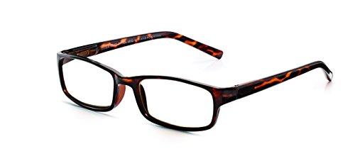 Read Optics rezeptfreie Lesebrille mit braunem Schildpatt Vollrand aus Polykarbonat-Kunststoff. Modische Brille für Damen/Herren mit kraztfesten Difuzer™ Gläsern mit UV-Schutz. Sehstärke +1,0 bis +3,5