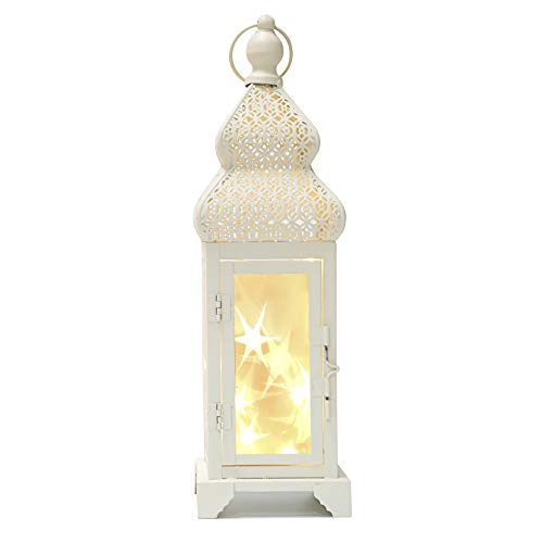"""Memoryee 14"""" Tall White Gold Brushed Metal Lantern with 10 Led String Lights - with Star Reflection for Indoor Outdoor Use"""