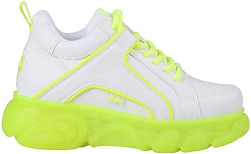 Buffalo Damen Sneaker CLD Corin, Frauen Low-Top Sneaker, Plateau-Sohle Lady Ladies feminin elegant Women's Women,White/NEON Yellow,39 EU / 6 UK