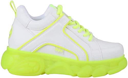 Buffalo Damen Sneaker CLD Corin, Frauen Low-Top Sneaker, Plateau-Sohle Lady Ladies feminin elegant Women's Women,White/NEON Yellow,39 EU / 6 UK