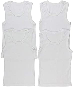 ToBeInStyle Boys  4 Pack Double Hem Tank Tops - Ribbed White - 0-3 Months