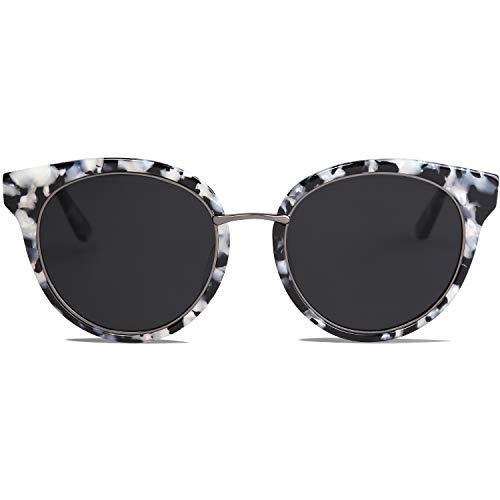 SOJOS Retro Sonnenbrille Damen Hochwertige Vintage Runde Brille Übergroß UV 400 Schutz mit Federscharnier, Brilletuch und Brillenbeutel MOMENT SJ1110 Grau Leopard Rahmen/Grau Linsen