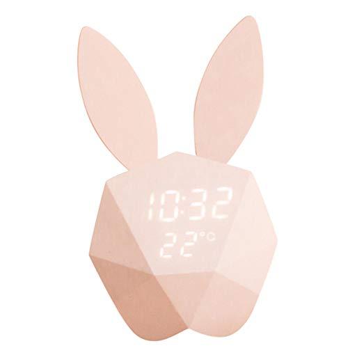 LANGTAO Reloj De Alarma Digital De Conejo Moderno, Relojes De Alojamiento Inteligente De Control De Voz, Carga De Noche De Carga USB, Reloj Despertador, Decoración Mesita De Noche,Rosado