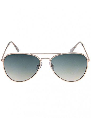 Leslii Sonnenbrille Piloten-Look Damen Doppelsteg Pilotenbrille Gold Metall Ø Glas inkl. Brillenrand 5cm 310216132