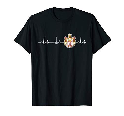 Unisex Shirt Herzschlag, Serbien, Damen Herren Kinder T-Shirt