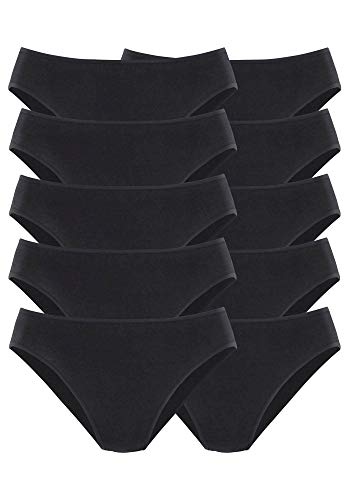 Go In Damen Slips Bikinislips | 10 Stück (44-46, 10 x schwarz)