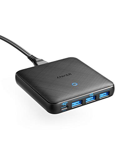 Anker PowerPort Atom III Slim (Four Ports)(PD 充電器 65W 4ポート USB-C)【PowerIQ3.0搭載 / PD対応/GaN(窒素ガリウム)採用】 iPhone 11 / 11 Pro / 11 Pro Max/XS、 MacBook Air、その他USB-C機器対応 (ブラック)