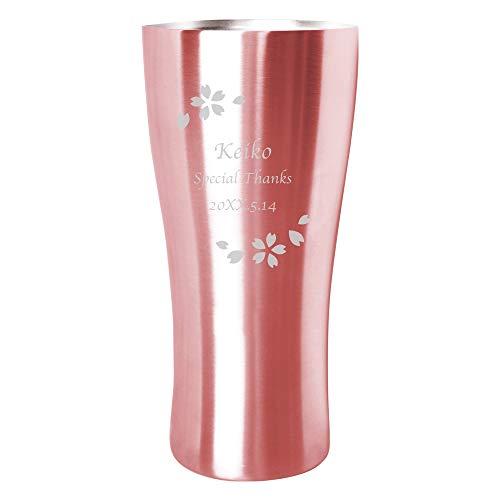 きざむ 名入れ ステンレス カラー タンブラー 真空断熱 ギフト 420ml 花フレーム ver. ピンク 英数字のみ