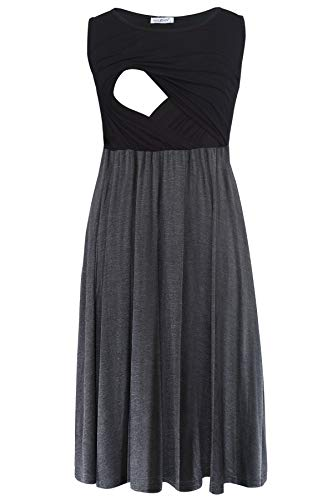 Smallshow Ärmelloses Patchwork-Umstandskleid mit Taschen für Frauen Black-Deep Grey X-Large
