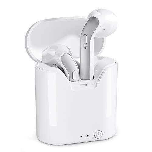 Auricolari Bluetooth Cuffie wireless - True Wireless Earbuds Cuffie Bluetooth 5.0 nell'orecchio, Cuffie auricolari con controllo a pulsanti (bianche)