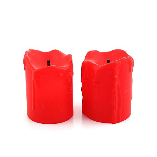 KASILU DIY Decorations 2PCs 3.65CM Simulated LED Candle Tealight Romantic Flameless Electronic Candle Party Valentine's Day Lover Gift Home Decoration (Color : Red)