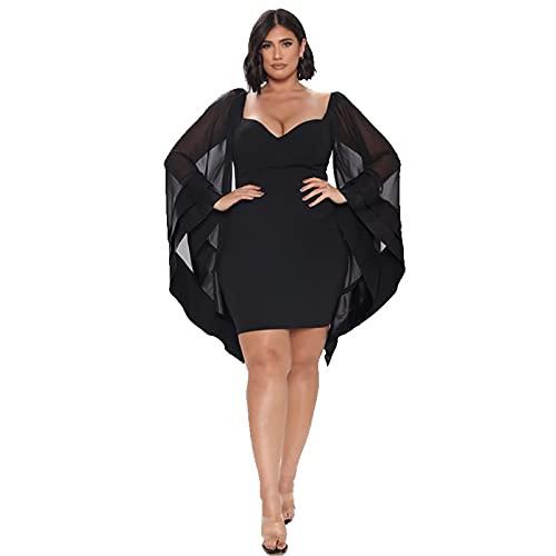 HEMEAN Mujer Malla Batwing Vestido,Tallas Grandes Sexy Ajustado Vestido Cremallera Trasera Murciélago MangaVestido 5XL Negro