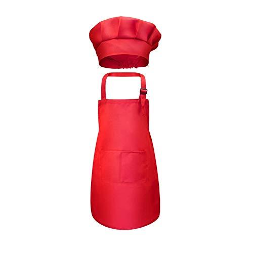 Hjdmcwd Delantal Cocina Chef niños faldón Delantero Bolsillo Bib Niños Niñas Delantal Arte de la Cocina Delantal de los niños Pintura Cocinar Juegos Sombrero del bebé (Color : Red, Size : L)