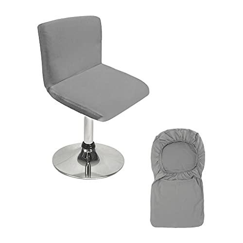 BTSKY Fundas para taburetes de bar grises con funda de respaldo elástica para silla de comedor gira