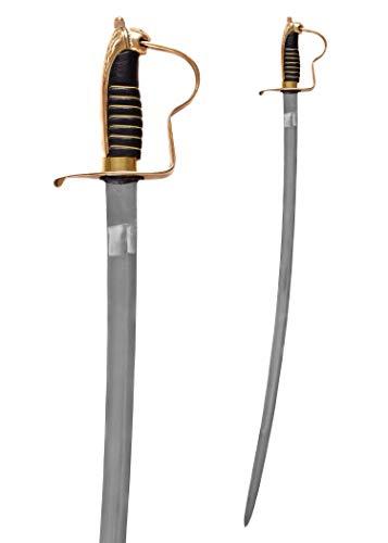Battle-Merchant - Preußischer Offizierssäbel für Erwachsene - geschmiedeter Stahl - mit Scheide & Löwenkopfgriff aus Messing
