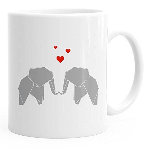 MoonWorks Kaffee-Tasse Origami Elefanten Pärchen verliebt Liebe Geschenk-Tasse weiß Unisize