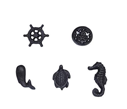 luluxing Nordic Retro Ocean Wind Cast Iron Handle Children's Room Drawer Single Hole Knobs for Wardrobe Handle Drawer, Pack of 5