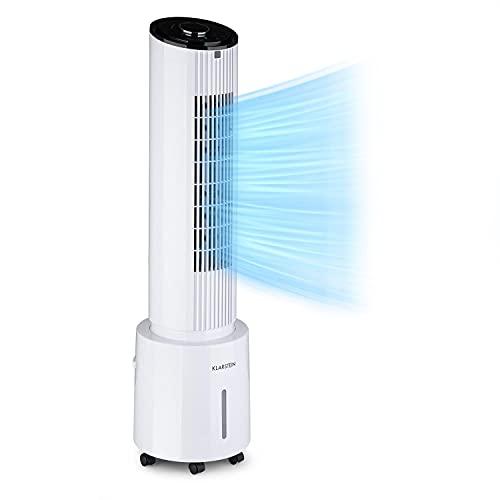 Klarstein Waterfall Luftkühler Ventilator Luftreiniger Luftbefeuchter, Luftdurchsatz: 400 m³/h, 45 W, Tank: 4 Liter, Kühlakku, 90° Oszillation, mobil, Bodenrollen, mit Staubfilter, weiß