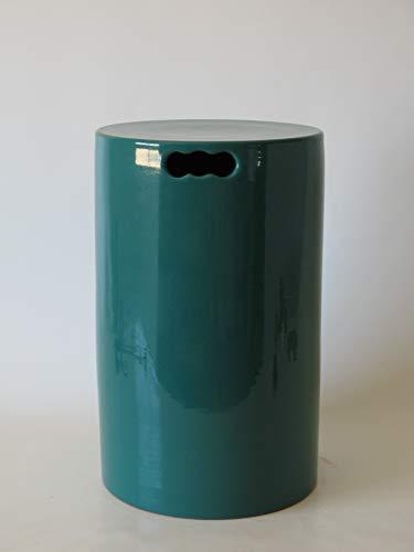 POLONIO - Puff de Ceramica Verde de 45 cm Alto - Taburete de Ceramica para Salón o Jardin - Mesa de Ceramica Color Verde
