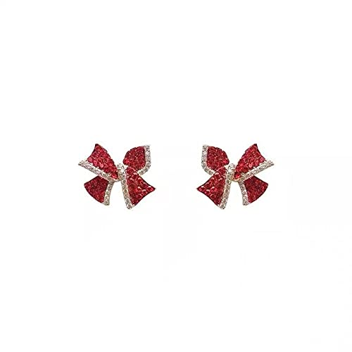 LIEQUAN Pendientes de Moda Pendientes de Personalidad Simple Pendientes S925 Aguja de Plata Pendientes de Lazo de Diamante Rojo Mujer