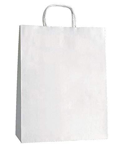 Yearol K05. 25 bolsas de papel kraft blancas con asas. Para comercio, tiendas, regalo, manualidades, etc. Anónimas, fondo americano cuadrado. 32 x 22 x 10 gramaje 90 gr/m2.