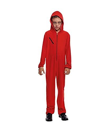 Hipex Collection Disfraz Atracador Mono Rojo Para Nios, Disfraces Infantil para Cosplay, Halloween, Carnaval (7-9 aos)