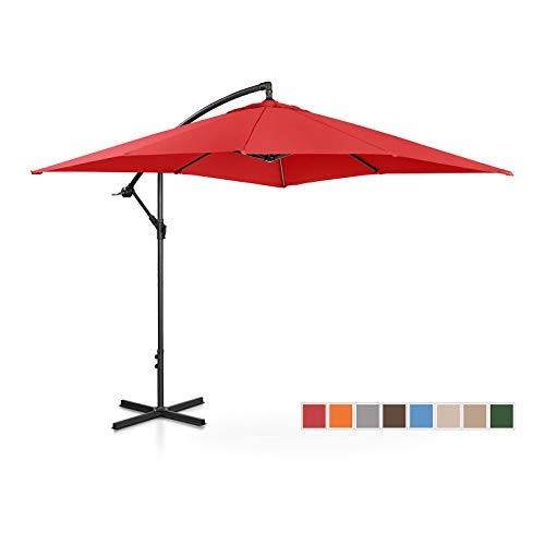Uniprodo Ampelschirm Uni_Umbrella_SQ250RE Gartenschirm (rechteckig, 250 x 250 cm, neigbar, rot)