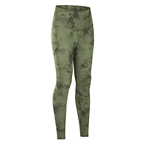 ArcherWlh Leggings Mujer Push Up,Pantalones de Yoga Pantalones Fitness Ejercicio Tie Dye Desnudo Apretado Cintura Alta Molienda Europea y Americana Imprimir Nueve Pantalones-Verde_Metro