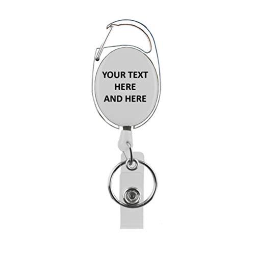 Gepersonaliseerde Rolseley Intrekbare Badge Holder ID Badge Reel met Aangepaste tekst, Naam met Karabijnhaak Riem Clip en Sleutelhanger