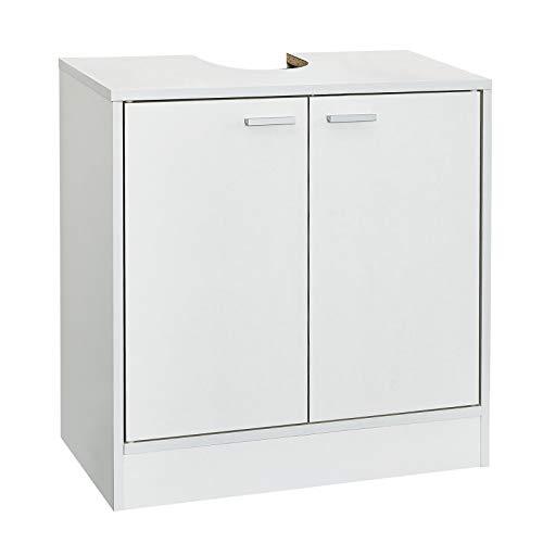 Mondeer Waschbeckenunterschrank, 2 Türen auz Holz Weiß, 60 x 30 x 60 cm