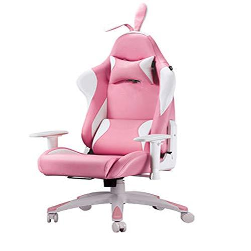 QinWenYan Sillas Gaming Silla de Juego Pink Snow Rabbit Silla Chicas Silla de Computación Casa Silla de Juegos para Oficina (Color : Pink, Size : One Size)