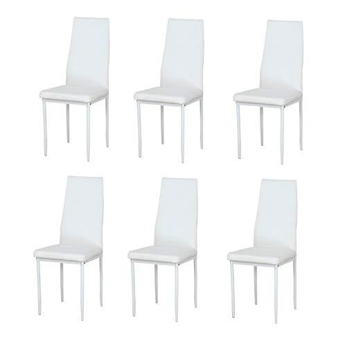 Sedia da ufficio con schienale alto, sedia da pranzo, sedia a sdraio, pelle artificiale e struttura in metallo, abito a quattro pezzi, vestito da sei pezzi (bianco, 6)