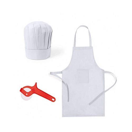 Emotiset Lote de 24 Delantales y 24 Gorros de Cocina Infantiles para niños Blancos.Kit de Cocinero Chef Infantil. Util en talleres Infantiles, cumpleaños, concursos, como Disfraz de Cocinero