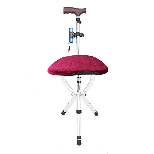 Diseño de tabla para sentarse liviana Bastón plegable antichoque, taburete de trípode de bastón para caminar, con cubierta antideslizante para los pies para ayudar a la movilidad de