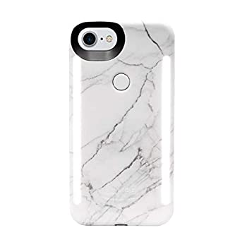 LuMee Duo Phone Case White Marble | Front & Back LED Lighting Variable Dimmer | Shock Absorption Bumper Case Selfie Phone Case | iPhone 8 / iPhone 7 / iPhone 6s / iPhone 6 Model LD-IP8V2-WMR