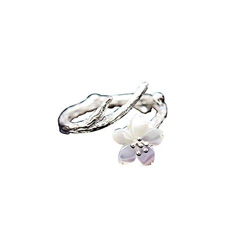 Topdo 1 Pieza Exquisito Anillo de Flor de Cerezo romántica con 925 Plata Ajustable Anillo de Extremo Abierto para Las Mujeres joyería Regalo Navidad,Plata