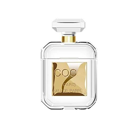 QJBH Creatieve Nieuwe Parfum Fles AirPods Beschermende Cover, 2 Generatie Siliconen Anti-drop Draadloze Bluetooth Headset Set, Kleur: wit