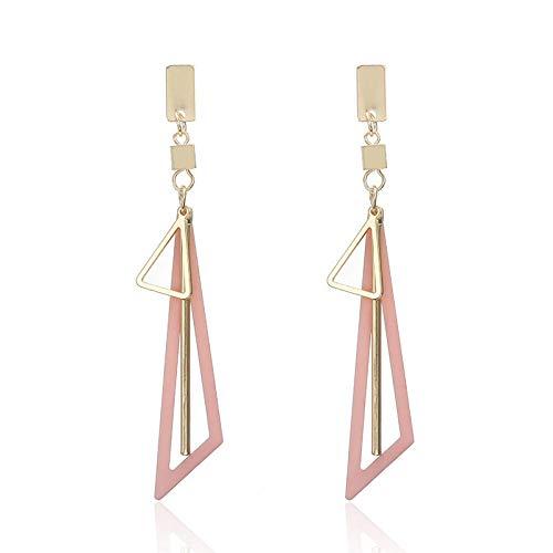 Pendientes con diamantes de cristal geométrico largo tasel colgante simple y pendientes-Ella