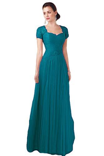 HYC Brautmutter-Kleider für Hochzeiten, Spitze, kurze Ärmel, Reißverschluss hinten, Ballkleid, lang, Tüll, A-Linie, Partykleider Gr. 48, pfau