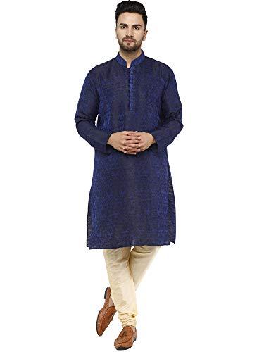 SKAVIJ Herren Tunika Indische Kurta Pajama Traditionelle Kleid Set (Blau, M)