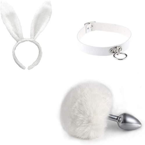 Blanco 3 piezas cola de conejo falsa esponjosa B-ü ~ t`t Pl-ù`g...