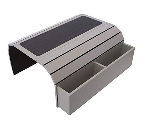 Vassoio per divano con base in EVA, supporto per telecomando e cellulare, organizer per braccioli, poggiabraccia con tasche. Si adatta sopra i braccioli quadrati della sedia (Fendy)