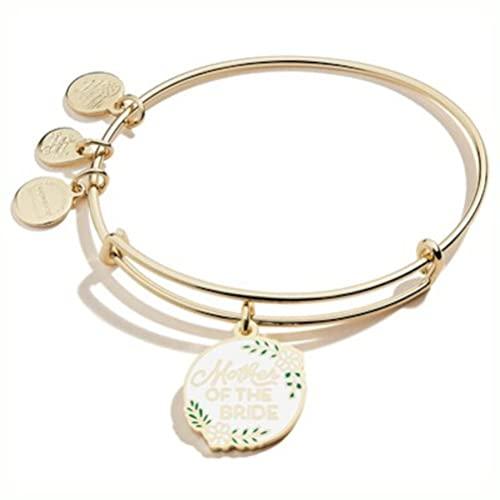 Alex and Ani Bridal Expandable Bangle for Women, Mother of the Bride Charm, Shiny Gold Finish, 2 to 3.5 in