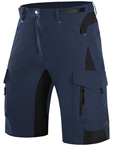 Wespornow Pantaloncini Mountain Bike Uomo-Asciugatura Rapida Pantaloncini MTB Uomo-Traspirante-Pantaloni- Antibatterica-Bici MTB-Shorts per Ciclismo da Corsa All'Aperto (Blu Navy Scuro, XL)