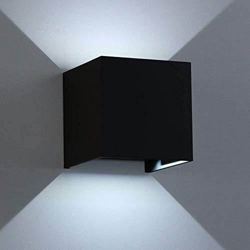 K-Bright Moderne LED Schwarz Wandleuchte mit einstellbar Abstrahlwinkel Design IP 65 außen Wandaussenleuchte für Schlafzimmer, Wohnzimmer,Kalt weiß, Aluminium, 12 W, 12w,black Case,cold White