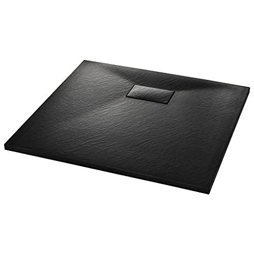 vidaXL Plato Ducha Resina Textura Pizarra Extraplano Antideslizante Mineral Fibra Vidrio Resistente Duradero Fácil Limpiar Cuadrado Negro 90x80 cm