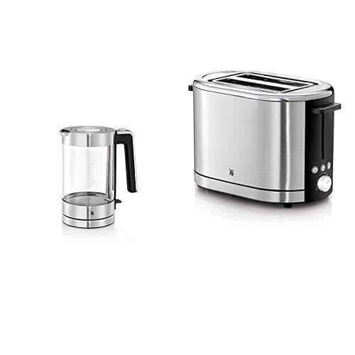 WMF Lono Wasserkocher Glas, 1,7 l, 3000 W, Schott Duran Glas, Kalk-Wasserfilter, cromargan matt/silber & WMF LONO Toaster Doppelschlitz, XXL-Toast Brötchenaufsatz