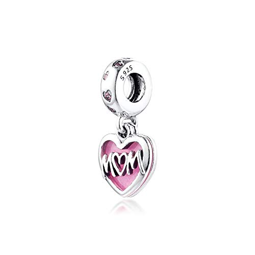 Diy Beads Silver 925 Sterling Mom Script Heart Dangle Charm For Jewelry Making Fit Charms Bracelet Mother'S Day Gift